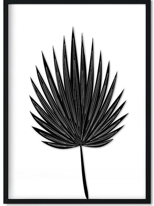 Plakat af sort palmeblad indrammet i sort ramme