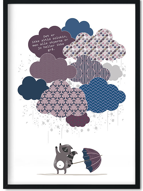 Citat plakat med skyer i blå, rosa og grå monteret i sort ramme
