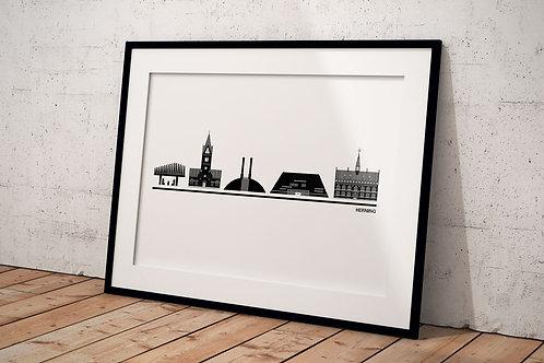 Byplakat Herning 50 x 70 cm med hvid baggrund og sort ramme