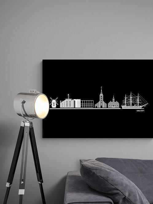 Byplakat Ebelstoft i sort 50 x 70 cm