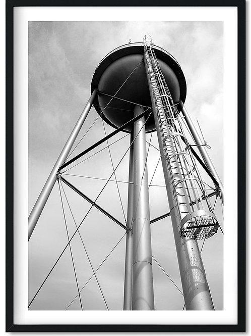 Fotoplakat i sort hvid med vandtårn