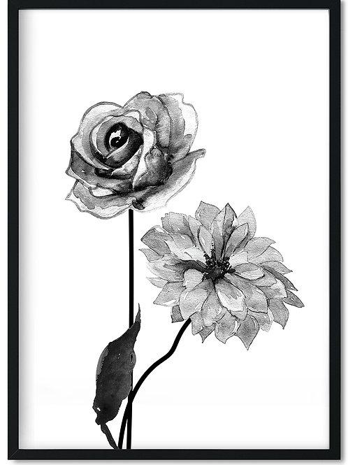 Plakat med sort blomst i en sort ramme