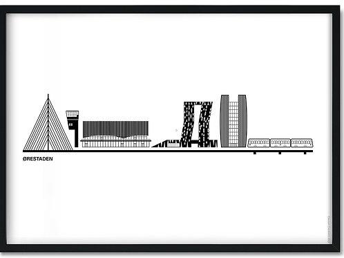 Byplakat af Ørestaden med hvid baggrund i sort ramme