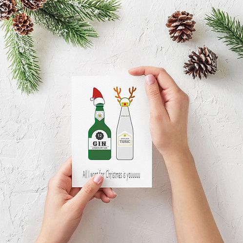 Julekort med gin og tonic