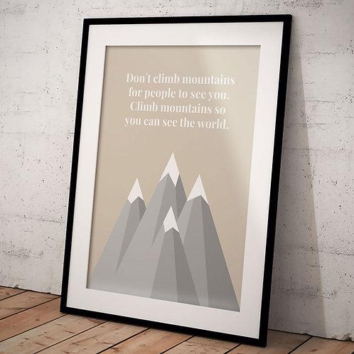 Plakat Climb Mountains A3, Lys