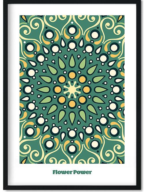 Flower Power plakat med grønne toner