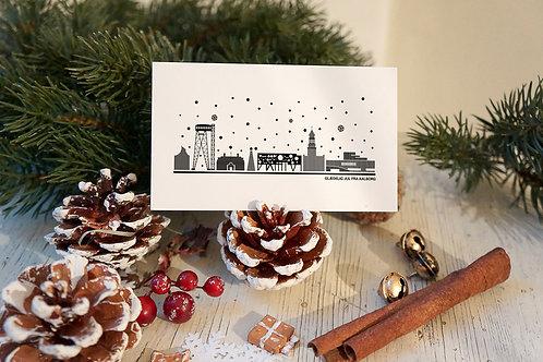 Julekort med din by i hvid
