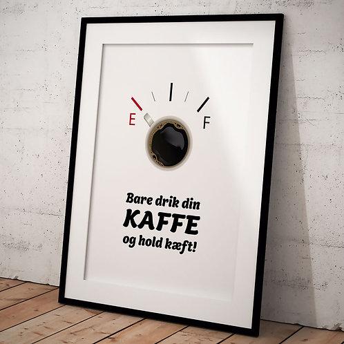 Kaffe plakat 50 x 70 cm med citat i en sort ramme