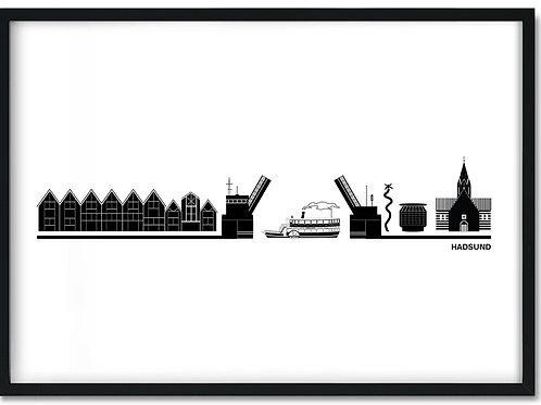 Hadsund by plakat med hvid baggrund og sort ramme