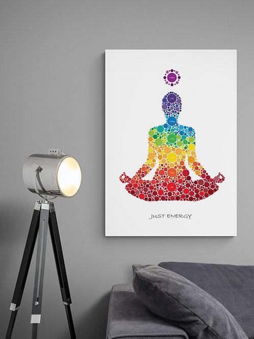 Just Energy plakat med chakra betegnelser og chakra farver
