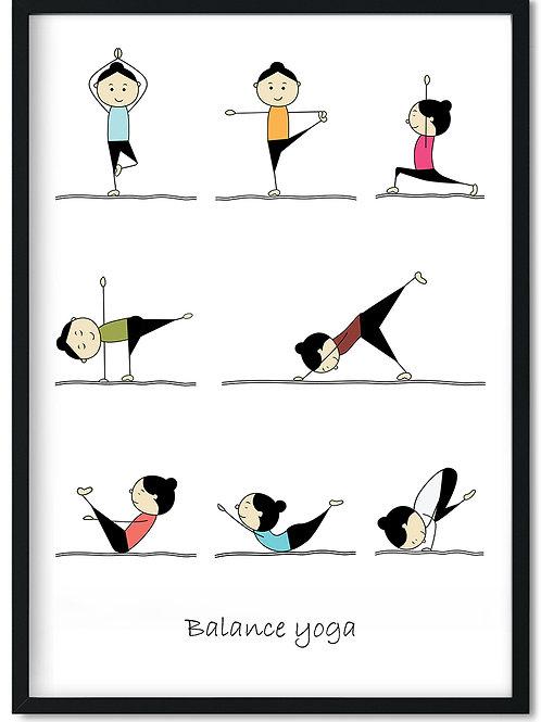 Balance yoga plakat med fine øvelser til balancen