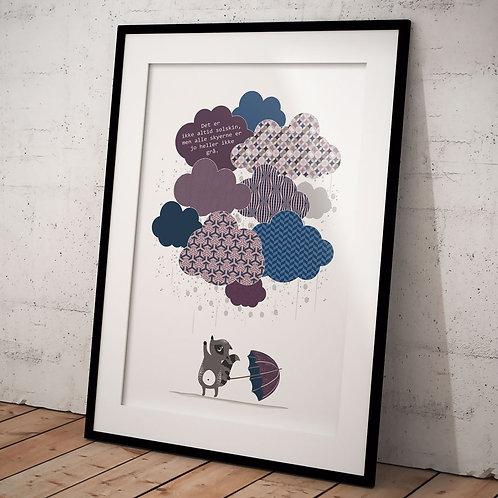 Citat plakat med skyer 50 x 70 cm,  i blå, rosa og grå med sort ramme