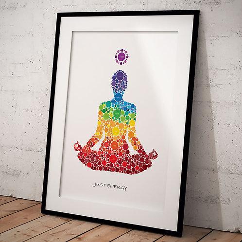 Organ Plakat Just Energy MED chakra betegnelse A3