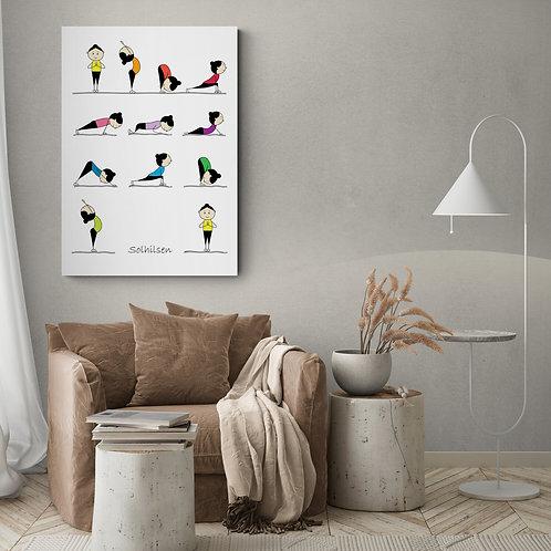 Yoga plakat med solhilsen - 50 x 70 cm