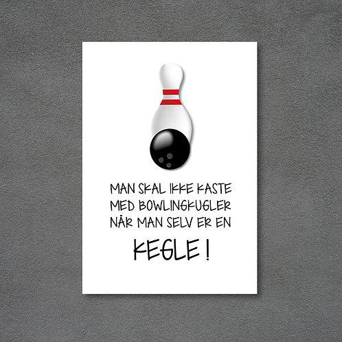 Postkort med kegle, bowlingkugle og citat