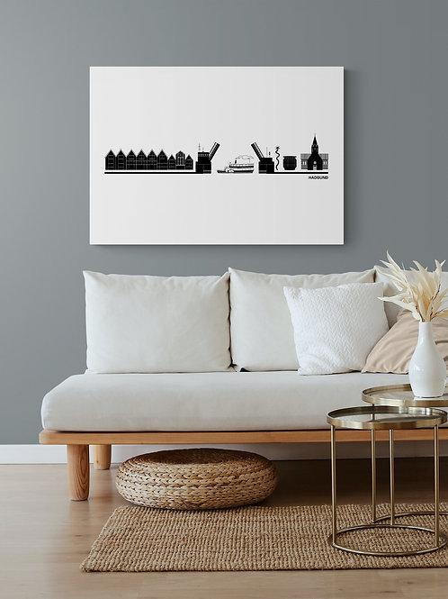 Byplakat Hadsund i hvid 50 x 70 cm