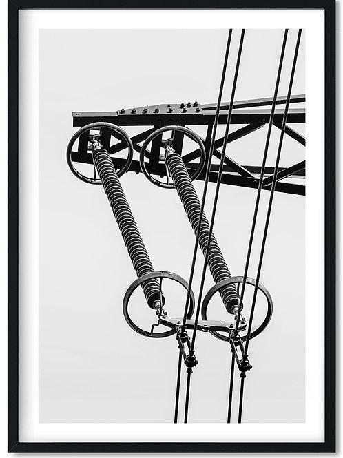Fotoplakat med kabel i sort og hvid