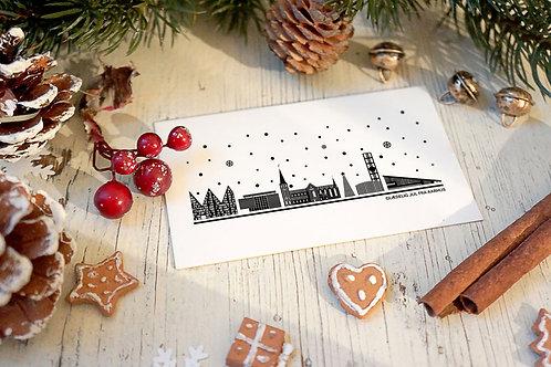 Julekort med Aarhus i hvid