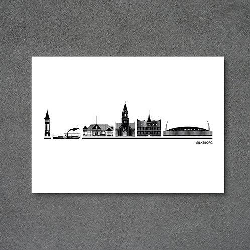 Postkort med byplakat Silkeborg hvid baggrund
