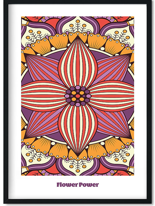 Flower Power plakat med lilla toner