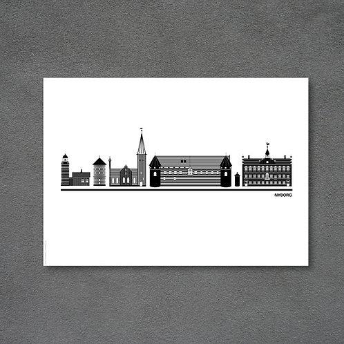 Postkort med byplakat Nyborg hvid baggrund