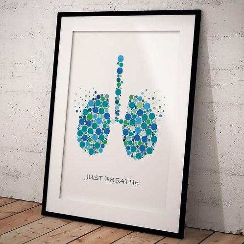 Organ Plakat Just Breathe A3, Grøn