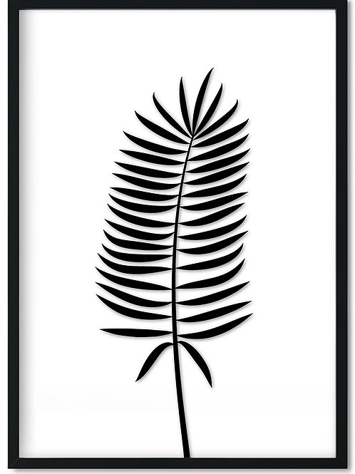 Plakat af sort bregne blad indrammet i sort ramme