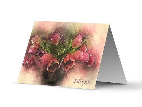 Billede af lykønskningskort med lyserøde tulipaner