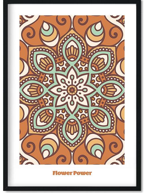 Flower Power plakat med brunlige toner