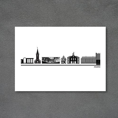 Postkort med byplakat Kolding hvid baggrund