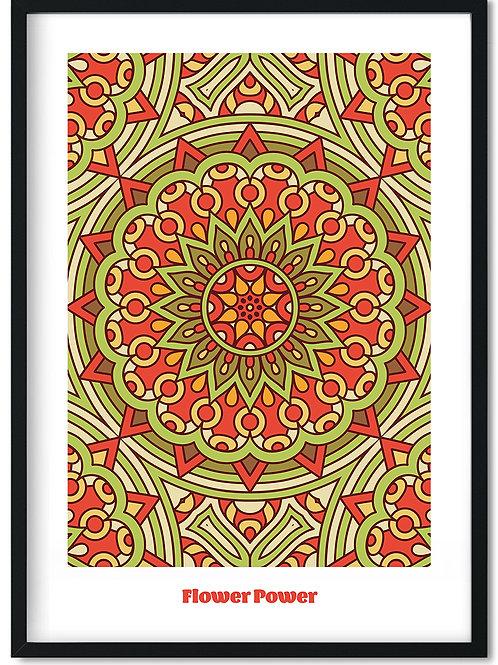 Flower Power plakat med rødlige toner