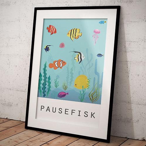 Billede af indrammet plakat 50 x 70 cm med pausefisk