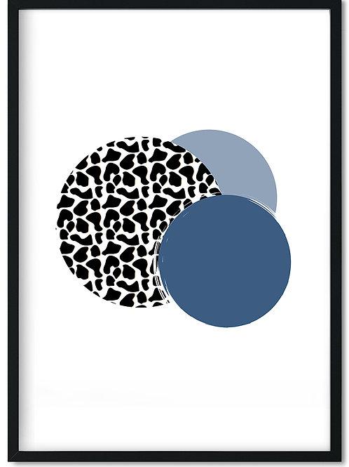 Plakat med dyreprint og blå cirkler monteret i sort ramme