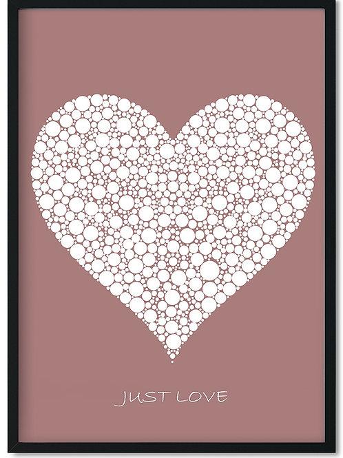 Citat plakat Just love med hvidt hjerte på mat rød baggrund i sort ramme