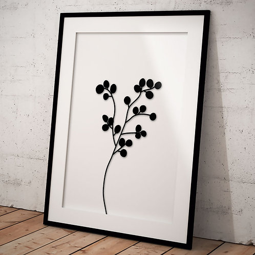 Billede af sort eukalyptus gren indrammet i sort ramme - A3