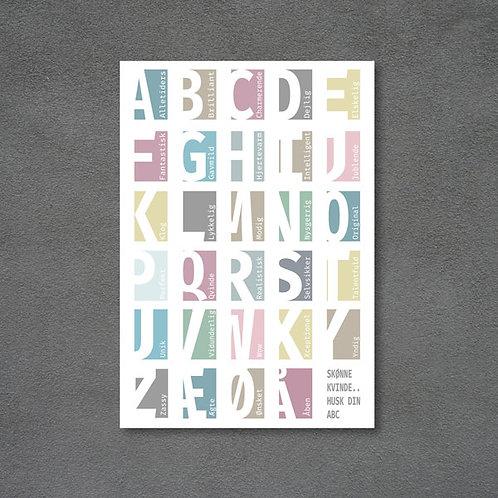 Postkort med kvindens ABC