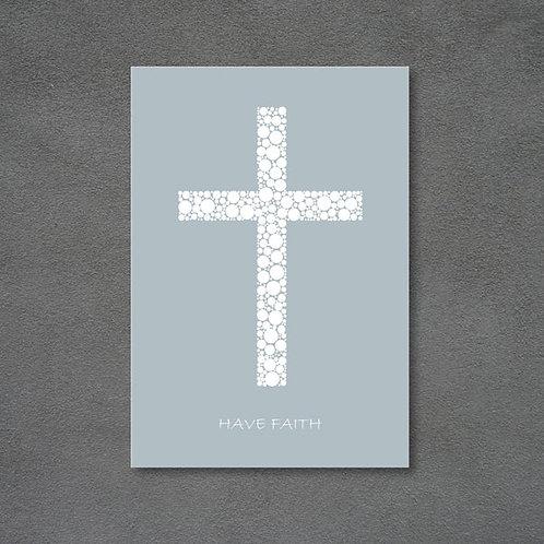 Postkort med kors og teksten Have faith