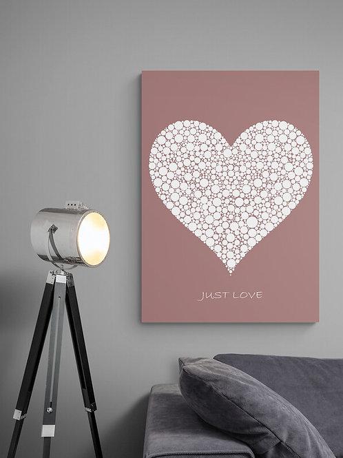 Rosa Just Love plakat med hvidt hjerte