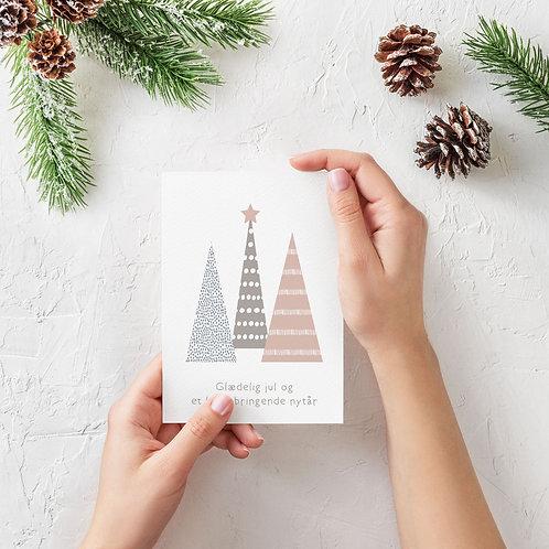 Julekort med pastelfarvede juletræer