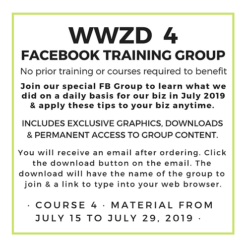 WWZD 4 : 14 days of Daily Training July 2019 Replay | lisa-zimmer