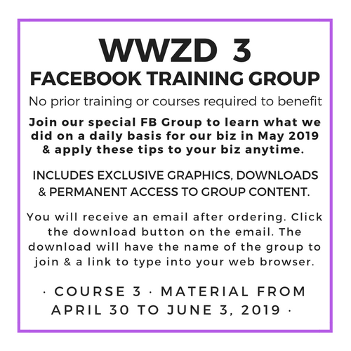 WWZD 3 : 35 days of Daily Training May 2019 Replay | lisa-zimmer