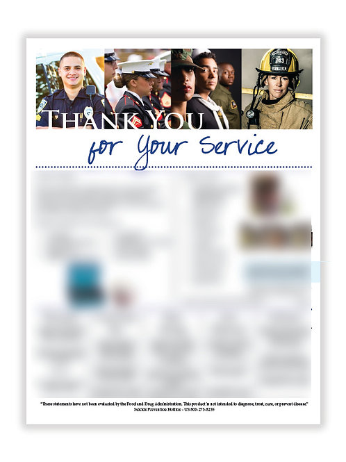 US Thank You for Your Service (8.5X11 size)