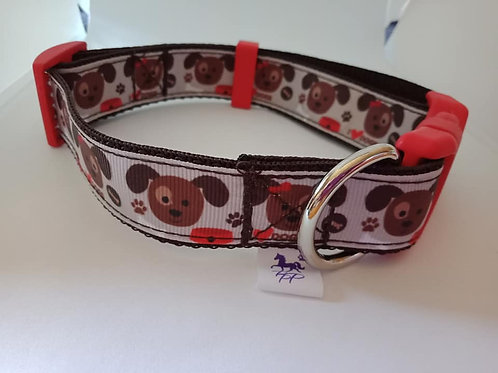 Brown I love dogs print adjustable dog collar - large