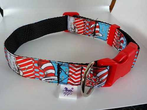 Cat in Hat - Dr Seuss pattern adjustable dog collar