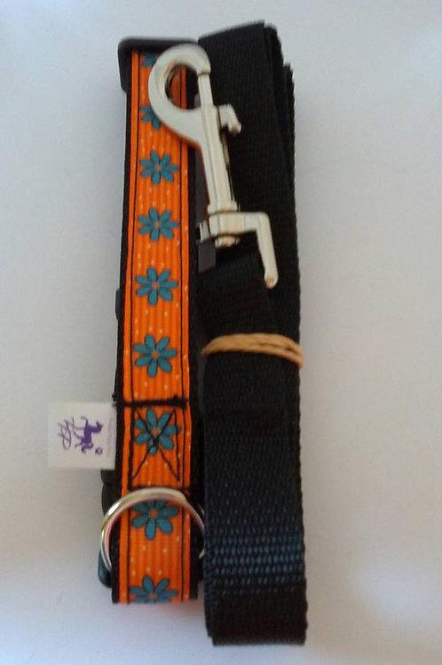 Orange and blue flower adjustable collar and lead set