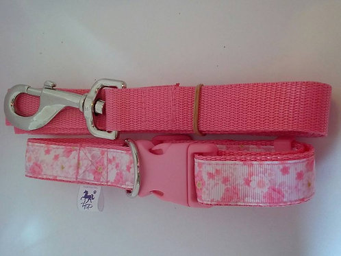 Pink cherry blossom patterned adjustable webbing dog collar and lead set