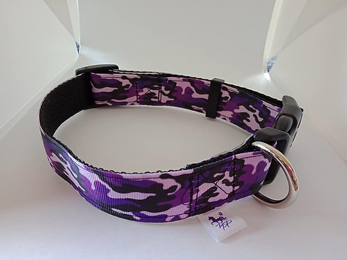 Purple camo adjustable dog collar medium