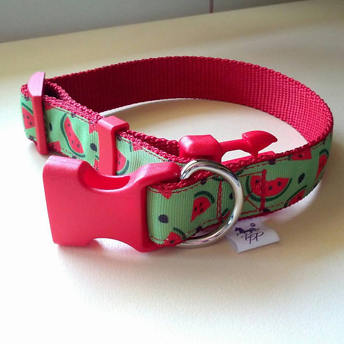 Red and Green watermelon print adjustable dog collars