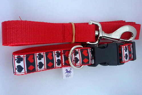 Card pattern adjustable webbing dog collar and lead set