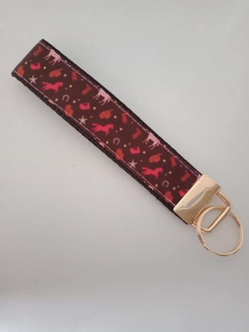Brown and pink horse key fob wristlet